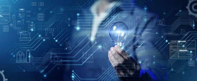 Business man in suit holding light bulb futuristic circuit symbol background,  innovation digital technology of future concept